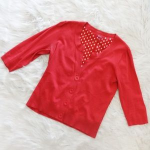 Monsoon Red Waist Length Cardigan